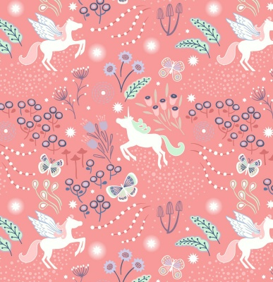 Fairy Nights Unicorn Meadow on Peachy Pink Cotton