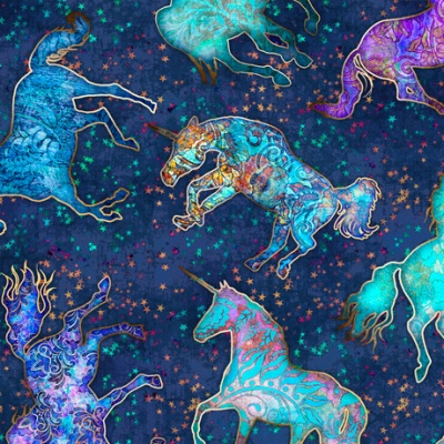 Mystical Unicorns and Stars Cotton