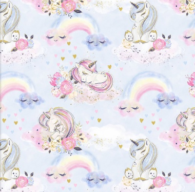 Unicorn Utopia Blue Unicorns & Rainbows Cotton Metallic