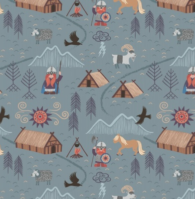 Viking Village on Blue Grey Cotton