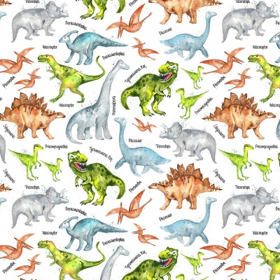 White Dinosaurs Cotton