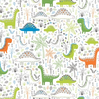 White Dinosaurs Forest Cotton