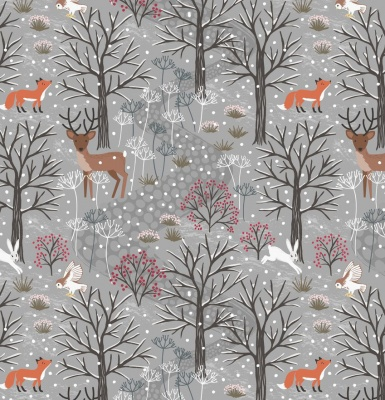 Winter Woods on Grey Cotton