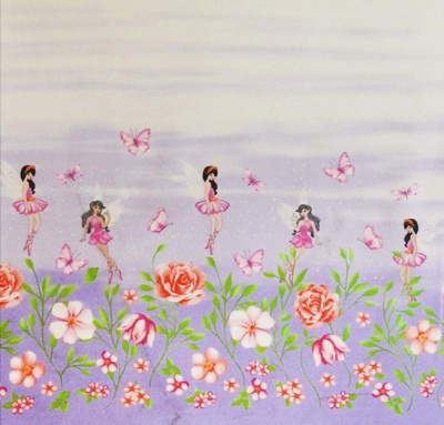 Wisteria Frolicking Fairies Double Border Cotton