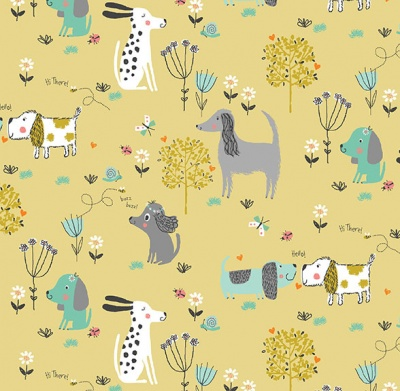 Walk In The Park Dogs Gold Cotton