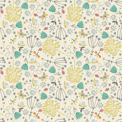 Walk In The Park Flowers Cream Cotton