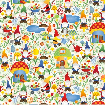 Woodland Gnomes in Mushroom Houses Cotton