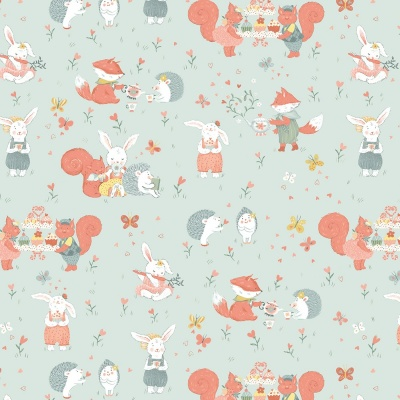 Woodland Tea Time Woodland Critters Aqua Cotton
