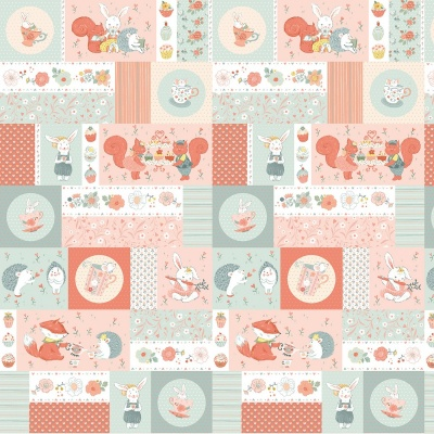 Woodland Tea Time Patchwork Critters Cotton