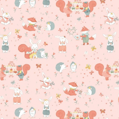Woodland Tea Time Woodland Critters Pink Cotton