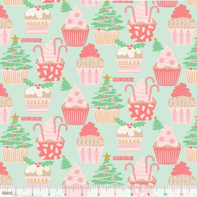 Christmas Cupcakes Green Cotton